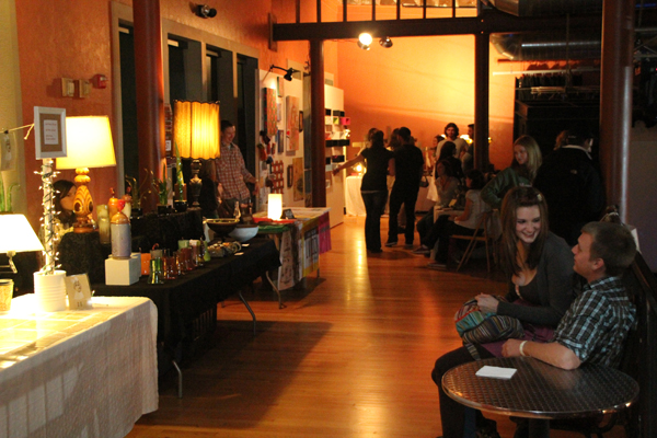 Upstairs balcony of the Crofoot with a few of the vendor tables and walls